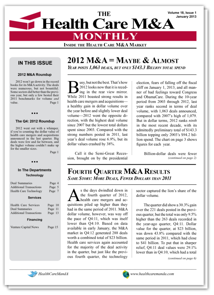 The Health Care M&A Information Source