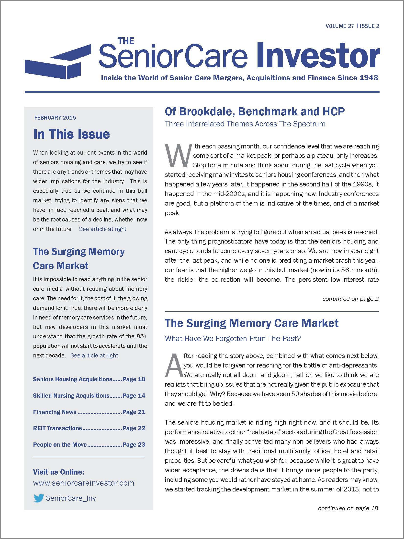The SeniorCare Investor Newsletter